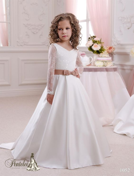2016 Kids Wedding Dresses with Long Sleeves V Neck Sequins Lace ...