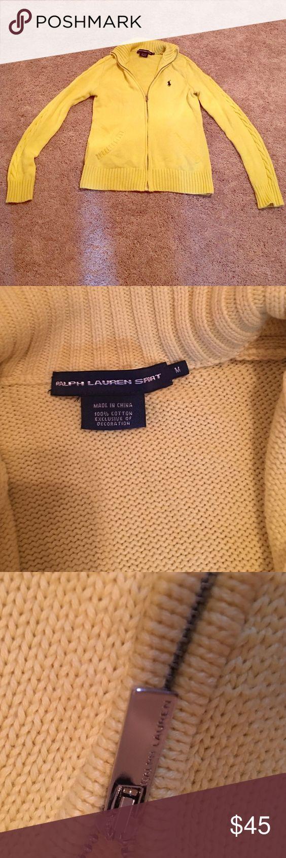 Ralph Lauren zip up sweater Women's bright yellow Ralph Lauren zip up sweater with navy logo. Size medium. Great for fall or winter! Polo by Ralph Lauren Sweaters