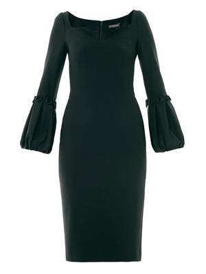 Alexander McQueen Pleated cuff crepe dress