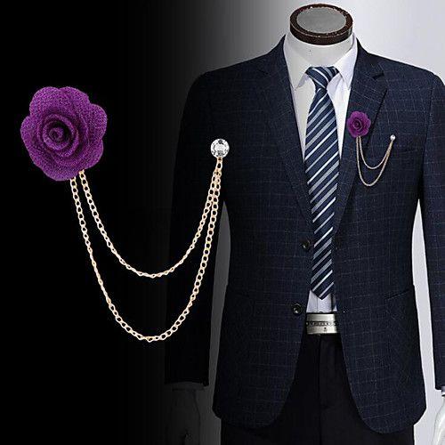 AS/_ Men Lapel Rose Flower Boutonniere Stick Brooch Pin Corsage Wedding Jewelry C