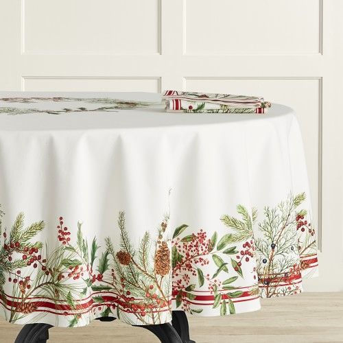 Woodland Berry Tablecloth 90 Round Williams Sonoma In 2020 Christmas Table Linen Table Linens Christmas Tabletop