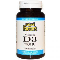 Natural Factors, Vitamin D3, 2000 Iu, 240 Softgels, Diet Suplements 蛇