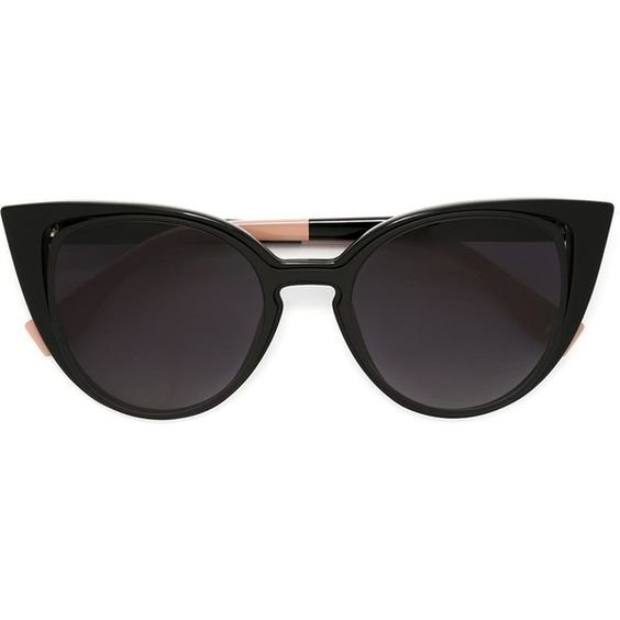 Fendi 'Paradeyes' sunglasses (8,110 MXN) ❤ liked on Polyvore featuring accessories, eyewear, sunglasses, black, cat-eye glasses, acetate sunglasses, cat eye sunglasses, fendi glasses and fendi sunglasses