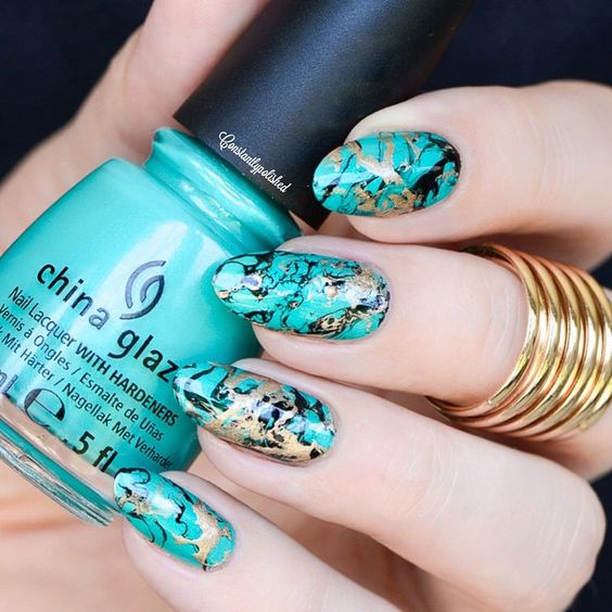 Turquoise nails using China Glaze-Turned Up Turquoise, Salon Perfect in Oil Slick, Sinful Colors in Gold Medal: