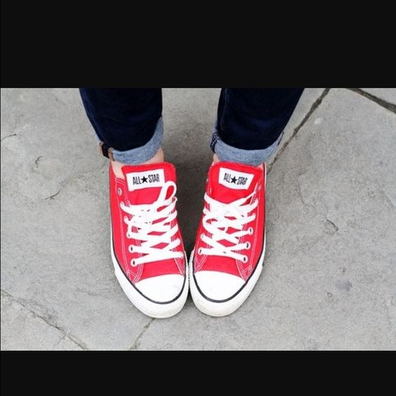 Red low top Converse Chuck Taylor Red low converse. Barely worn. Fits size 7.5-8. No trades. Price firm. Converse Shoes Sneakers