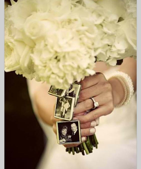 Want to attach photos to the bouquet. 3 max. Have the frames to attach for two grandmas and Darcy.