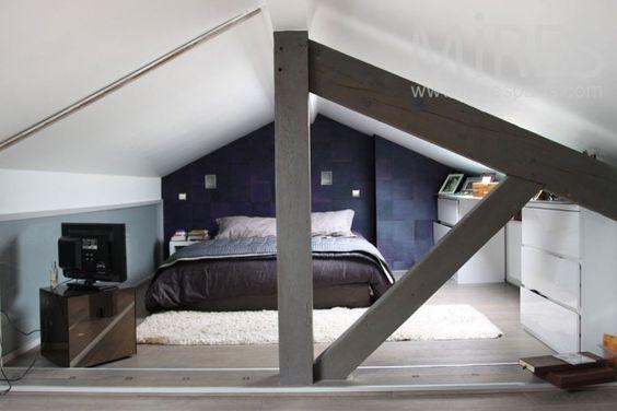 chambre sous combles chambre mezzanine pinterest lieux. Black Bedroom Furniture Sets. Home Design Ideas