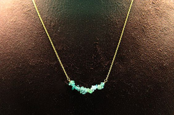 1pcsjen-0160atg-1  handmade necklace with natural apatite by 3yes