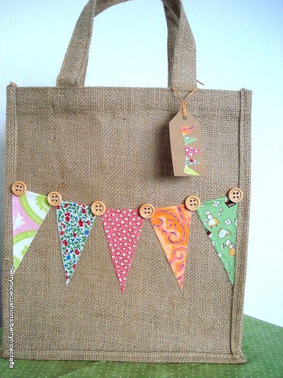 hessian jute medium bag with bunting lunch by