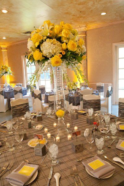 Events shot by j roe studios wedding receptions and comment for Yellow flower arrangements centerpieces