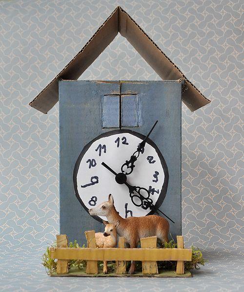 mit kindern eine kuckucksuhr aus karton basteln von naturkinder tipps pinterest uhr. Black Bedroom Furniture Sets. Home Design Ideas