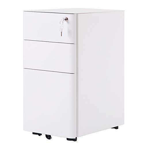 3 Drawer Mobile File Cabinet With Lock Julyfox 22 Inch Steel