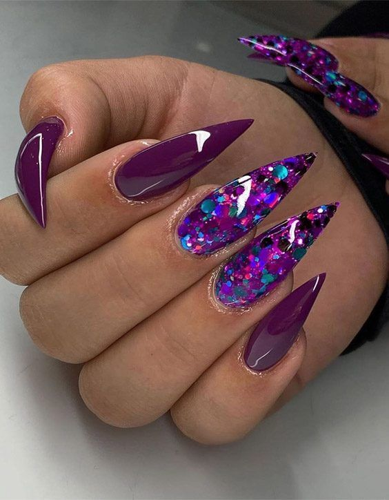 Stunning Cutest Stiletto Nails For 2020 Stylesmod Purple Acrylic Nails Purple Stiletto Nails Stiletto Nails Designs