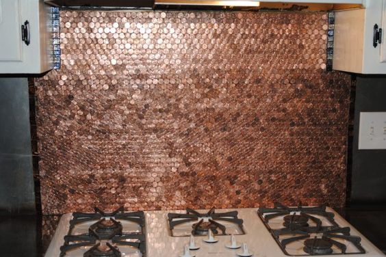 Penny backsplash kitchen backsplash and pennies on pinterest for Kitchen penny backsplash