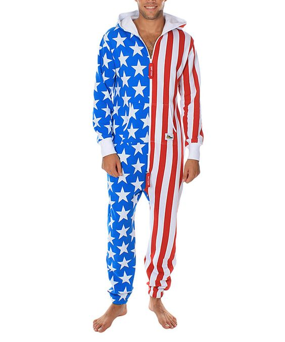 This Blue & Red American Flag Jumpsuit - Unisex by Tipsy Elves is perfect! #zulilyfinds