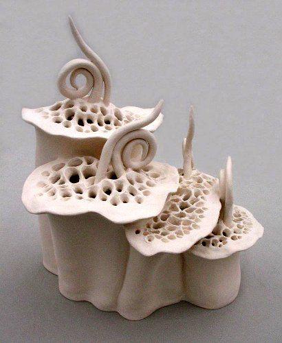 Floral Lantern Elizabeth Shriver, Hand-built stoneware: