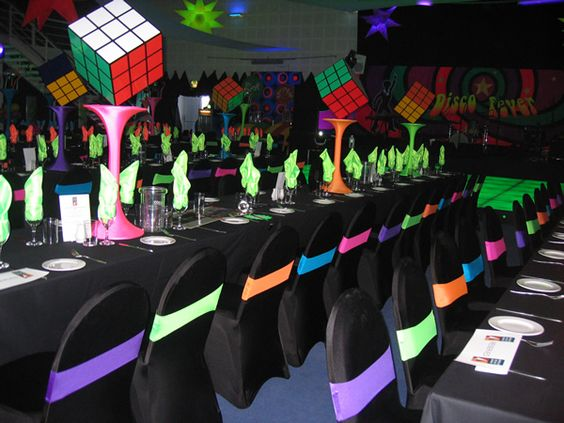 Eighties themed venue decor.  Big Foot Events.