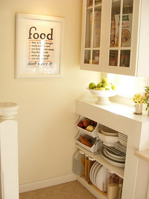 Food and dish storage and a great kitchen print from MaillardvilleManor.com