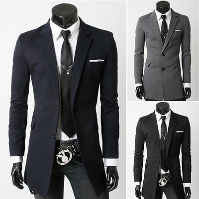 Details about NEW Mens Long Style Suit Coat Slim Casual Blazers