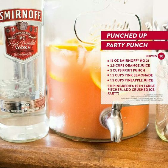 Punched up party punch (smirnoff, orange juice, fruit punch, pink ...