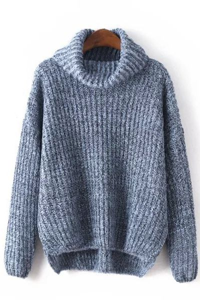 High Low Hem Loose Fitting Turtle Neck Sweater