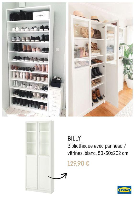 Ikea Hacks Billy Rangement Chaussures En 2020 Meuble Rangement Ikea Amenagement Dressing Ikea Idee Deco Ikea