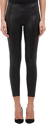New Black Leather Lambskin Skinny pants Cropped Leggings  Mid Rise USA 2-16