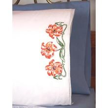 Lilies Pillowcase Pair Stamped Embroidery