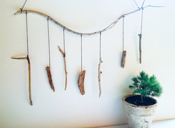 Handmade driftwood mobile hanging art from Australian beach wood - One of a kind - ON HOLD