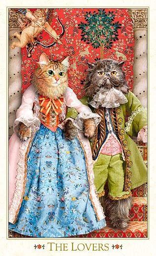 "VI - Les amoureux - Tarot baroque ""les chats bohèmes"" par Karen Mahony Alex Ukolov:"