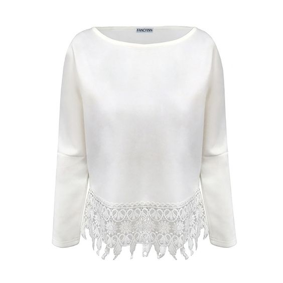 Ladies Crochet Lace Tassel Blouse Boho Cropped Top Crew Neck Bawing Sleeve Shirt