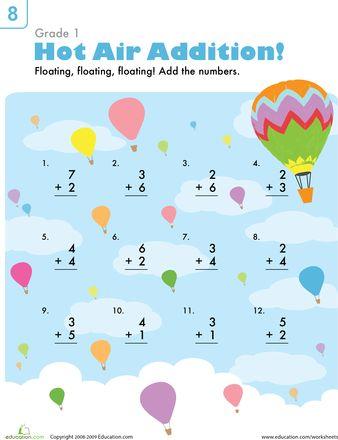 math worksheet : beginning addition hot air balloons  worksheets hot air balloon  : Beginning Addition Worksheets
