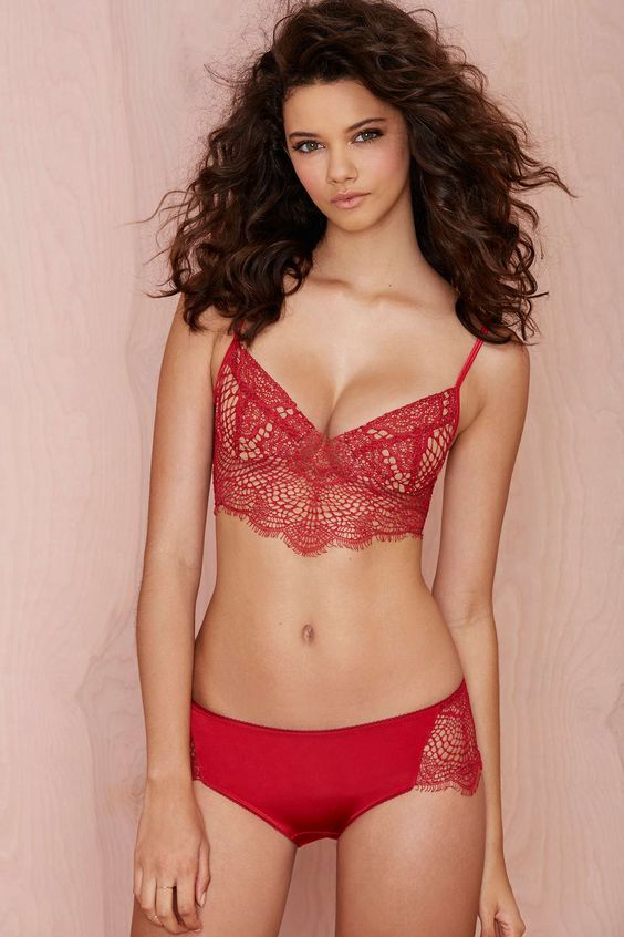 SKIVVIES Bat Your Lashes Lace Panty - Red