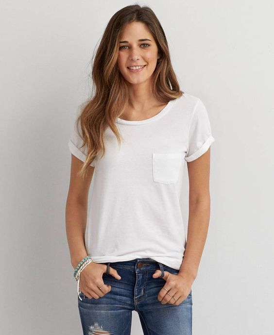 American eagle favorite pocket t shirt women 39 s white for Pocket tee shirts for womens