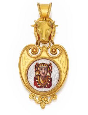 18 Karat Gold and Micromosaic Pendant, Ernesto Pierret - Sotheby's