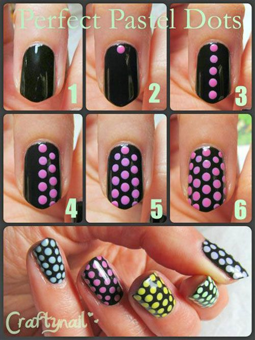 20 Simple Step By Step Polka Dots Nail Art Tutorials For Beginners & Learners 2014: