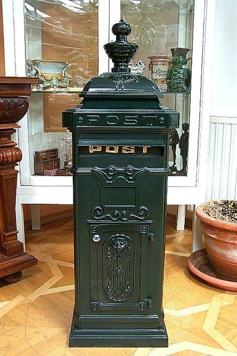 g66 gro er nostalgie briefkasten standbriefkasten aluminiumgu antik gr n in heimwerker. Black Bedroom Furniture Sets. Home Design Ideas