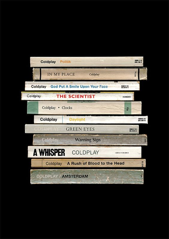 Coldplay 'A Rush Of Blood To The Head' Album As Books Poster Print | Literary Music Print | Penguin Books