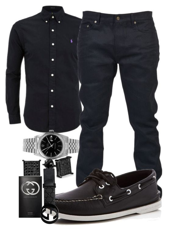 """Funeral.."" by young-rich-nvgga ❤ liked on Polyvore featuring Rolex, Yves Saint Laurent, Sperry, Gucci, men's fashion and menswear"