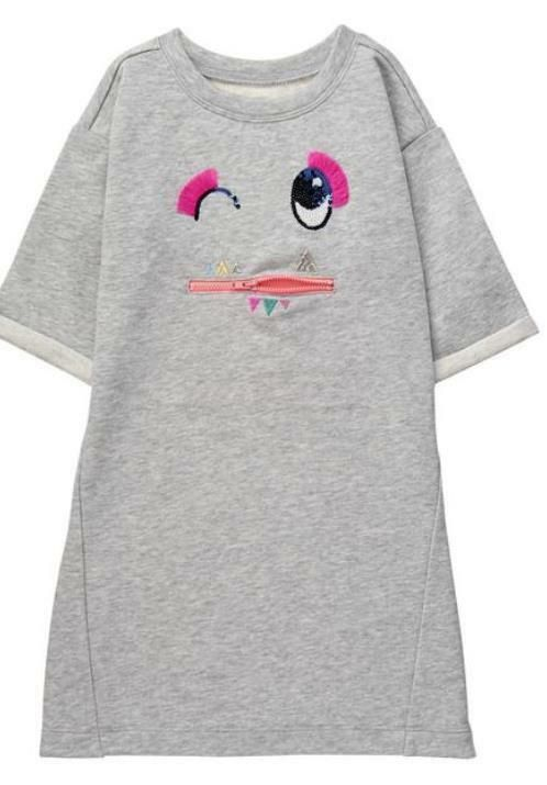 NEW Gymboree Girls 5 6 7 year Funny Face Zipper Sweatshirt Dress Cosmic Club