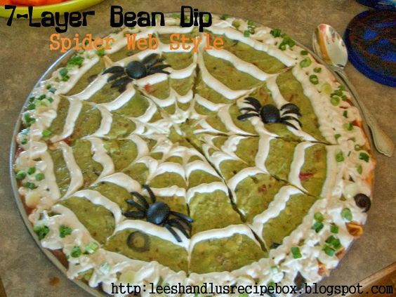 Leesh & Lu's Recipe Box: 7-Layer Bean Dip {Halloween Edition}