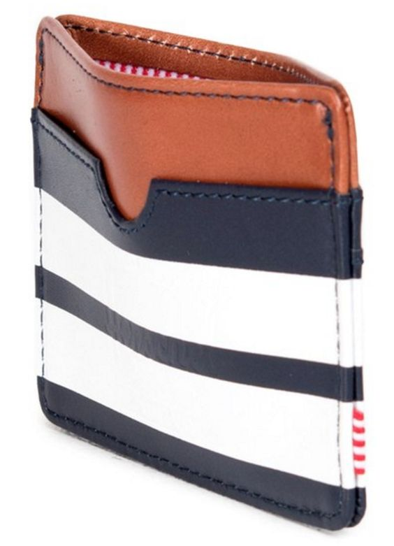 Herschel Leather/navy Stripe Card Carrier