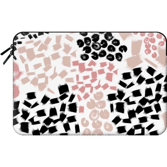 Abstract paint spots dots + stripes blush and black - Macbook Sleeve (4,005 INR) ❤ liked on Polyvore featuring accessories, tech accessories and macbook sleeve