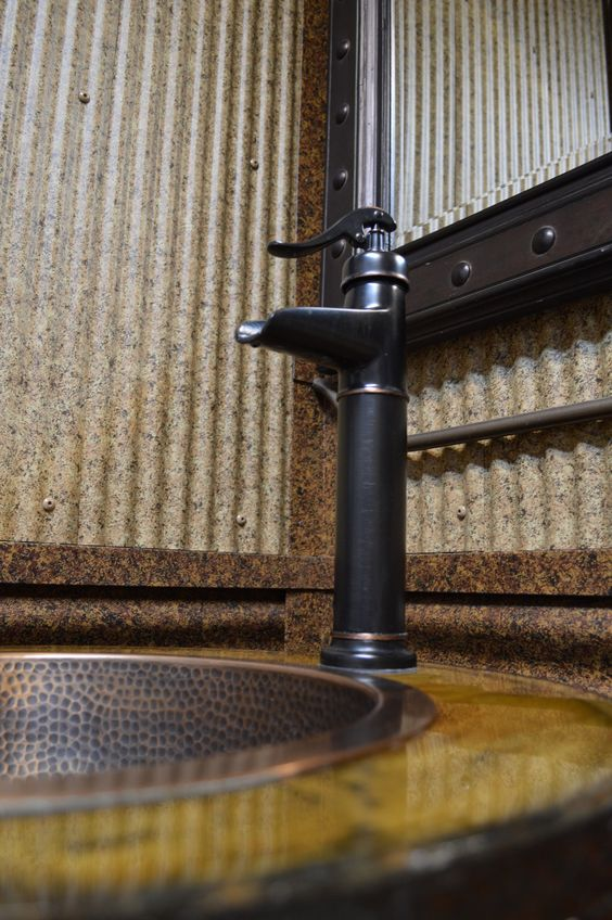 printed corrugated accents are perfect for giving bathrooms a cool look. Bridger Steel - Blog