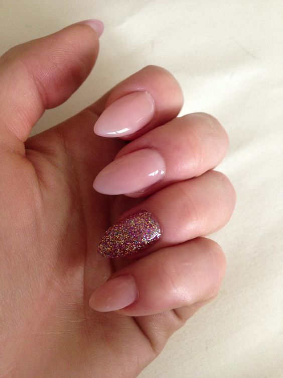 Stiletto nails, almond nails pink nails rose gold sparkly stiletto nails