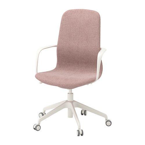 Langfjall Krzeslo Biurowe Z Podlokietnikami Gunnared Jasny Rozowy Bialy Ikea Chaises Pivotantes Ikea Chaise