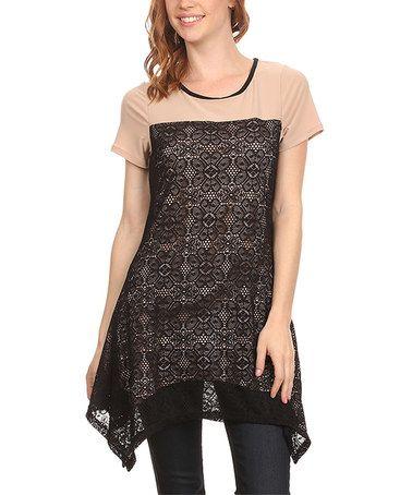 Another great find on #zulily! Black & Beige Lace-Accent Sidetail Top #zulilyfinds