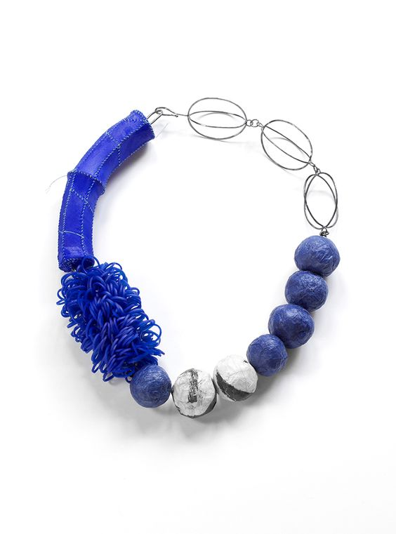 Myung URSO - Blue Combination, Necklace, Silk, Silicone bands, Hanji, Asian ink, Thread, Sterling silver, Lacquer, 2014: