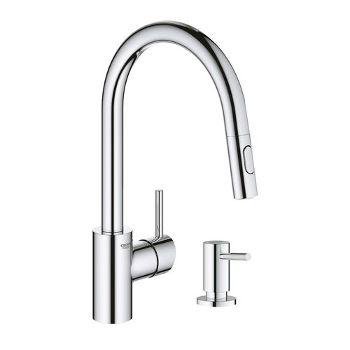 Grohe Concetto Pull Down Kitchen Faucet With Soap Dispenser