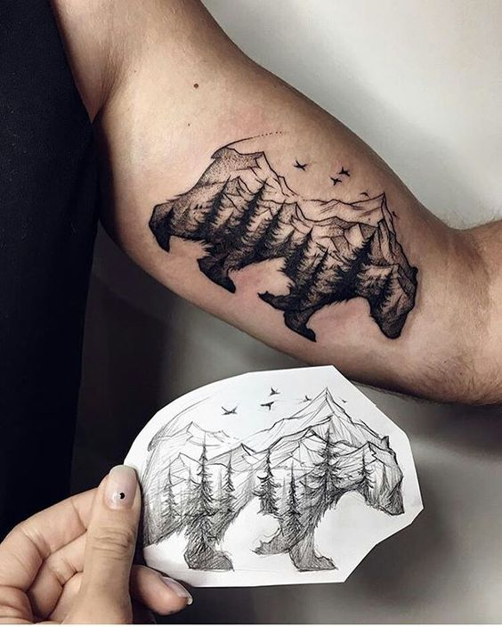 Tattoo minimalism bear nature skin: